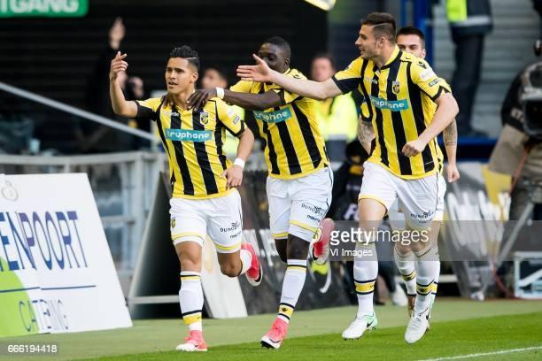 Navarone Foor of Vitesse Marvelous Nakamba of Vitesse Matt Miazga of Vitesseduring the Dutch Eredivisie match between Vitesse Arnhem and sc...