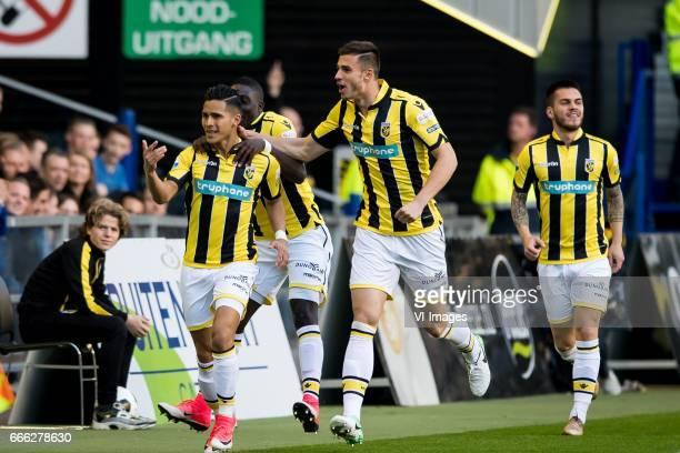 Navarone Foor of Vitesse Marvelous Nakamba of Vitesse Matt Miazga of Vitesse Nathan de Souza of Vitesseduring the Dutch Eredivisie match between...