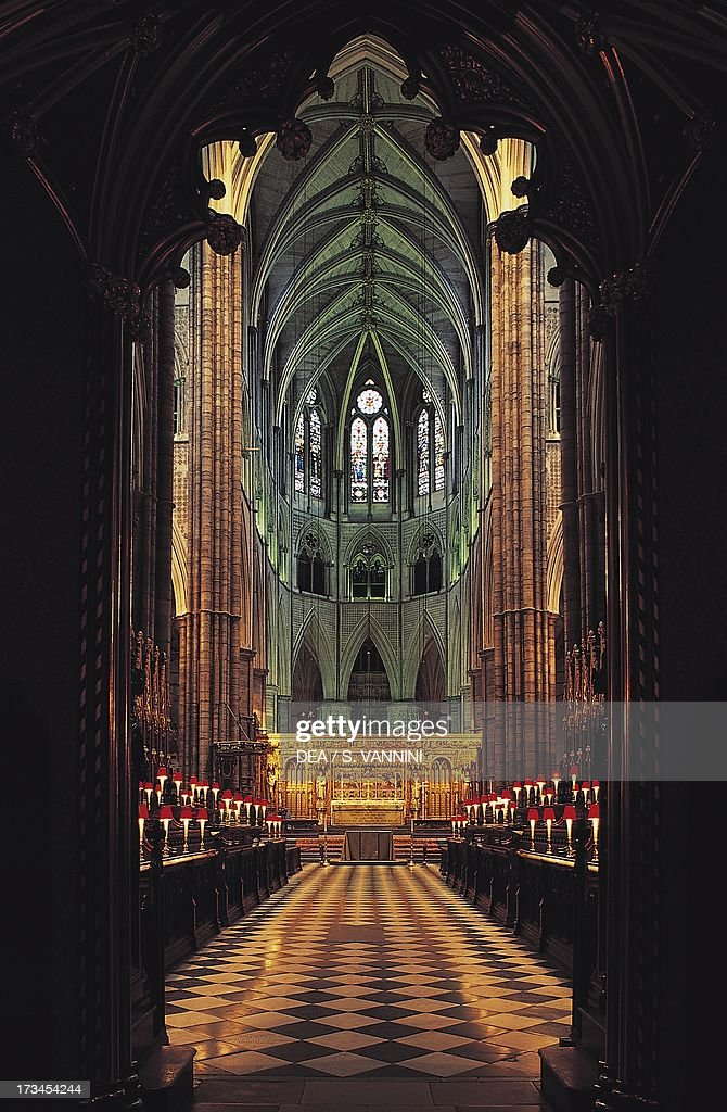 Nave and choir Westminster Abbey London England United Kingdom