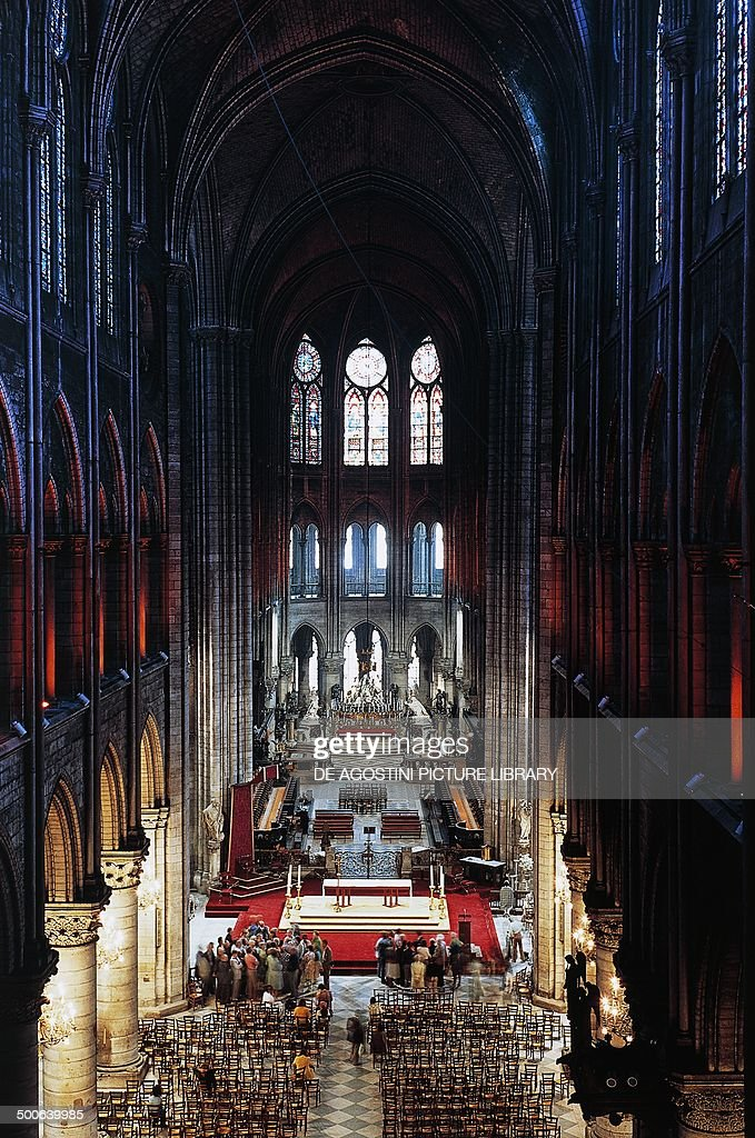 Nave of Notre-Dame Cathedral (UNESCO World Heritage List, 1991), Paris, Ile-de-France, France, 12th-14th century.