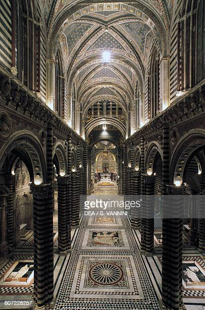 Nave of Siena cathedral or Cathedral of St Mary of the Assumption Siena Tuscany Italy 13th14th century