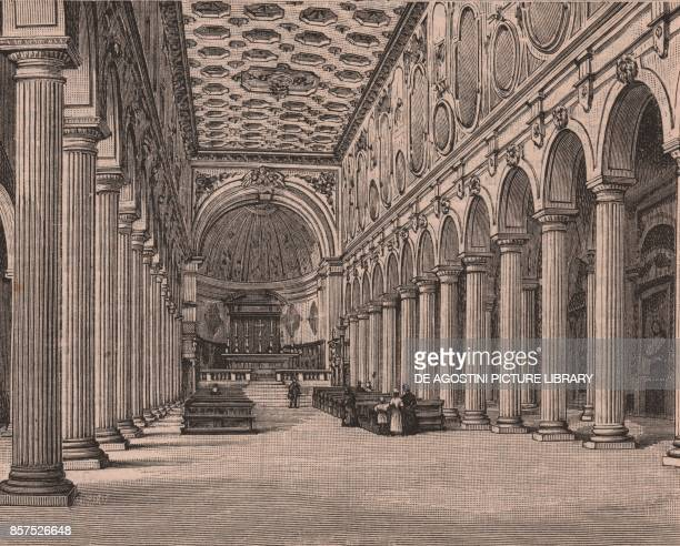 Nave the cathedral of Santa Maria de Episcopio Benevento Campania Italy woodcut from Le Cento citta d'Italia illustrated monthly supplement of Il...