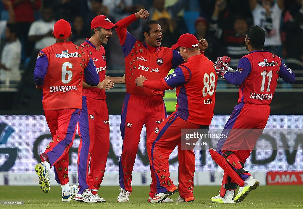 Naved-ul-Hasan of Gemini Arabians celebrates the wicket of Brian Lara of Leo Lions during the Final match of the Oxigen Masters Champions League between Gemini Arabians and Leo Lions at the Dubai International Cricket Stadium on February 13, 2016 in Dubai, United Arab Emirates.