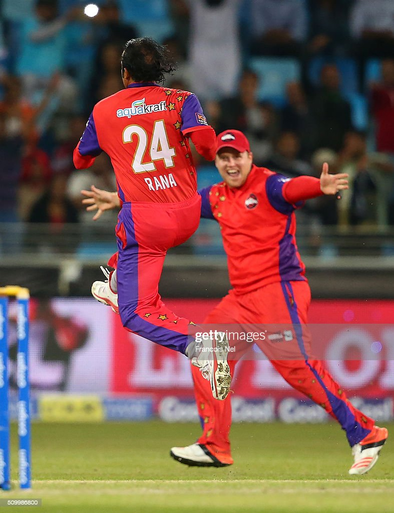 Naved-ul-Hasan of Gemini Arabians celebrates the wicket of <a gi-track='captionPersonalityLinkClicked' href=/galleries/search?phrase=Johan+Botha+-+Cricket+Player&family=editorial&specificpeople=7360440 ng-click='$event.stopPropagation()'>Johan Botha</a> of Leo Lions during the Final match of the Oxigen Masters Champions League between Gemini Arabians and Leo Lions at the Dubai International Cricket Stadium on February 13, 2016 in Dubai, United Arab Emirates.