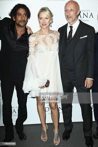 Naveen Andrews Naomi Watts and Oliver Hirschbiegel attends 'Diana' Paris Premiere at Cinema UGC Normandie on September 6 2013 in Paris France