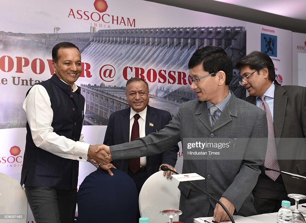 Naveen Jindal, CMD, Jindal Steel & Power Ltd with Arunachal Pradesh Chief Minister Kalikho Pul during a press conference on Hydropower @Crossroads: tapping the untapped organised by The Associated Chambers of Commerce and Industry of India (ASSOCHAM), on May 3, 2016 in New Delhi, India. Minister said, We are preparing a framework for hydro development in this country, very soon we will take it up to the highest level in the government.