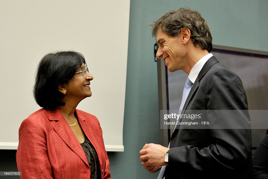 Navi Pillay (L), UN High Commissioner for Human Rights, and Federico Addiechi, FIFA Head of Corporate Social Responsibility, speak after the discussion panel on the International Day for the Elimination of Racial Discrimination at United Nations Office in Geneva on March 21, 2013 in Geneva, Switzerland. On the United Nations' (UN) International Day for the Elimination of Racial Discrimination, the Office of the High Commissioner for Human Rights (OHCHR) see today as a unique opportunity to celebrate diversity and urged all sportswomen and sportsmen, sports authorities and fans to take decisive action against intolerance and racism in sports and celebrate human achievement and excellence beyond the narrow boundaries of ethnicity, race or nationality.