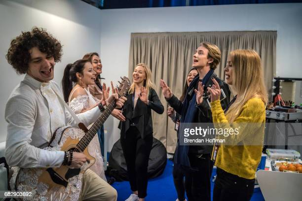 Naviband comprised of Artem Lukyanenko and Ksenia Zhuk the contestants from Belarus back stage before the final rehearsal for the Eurovision Grand...