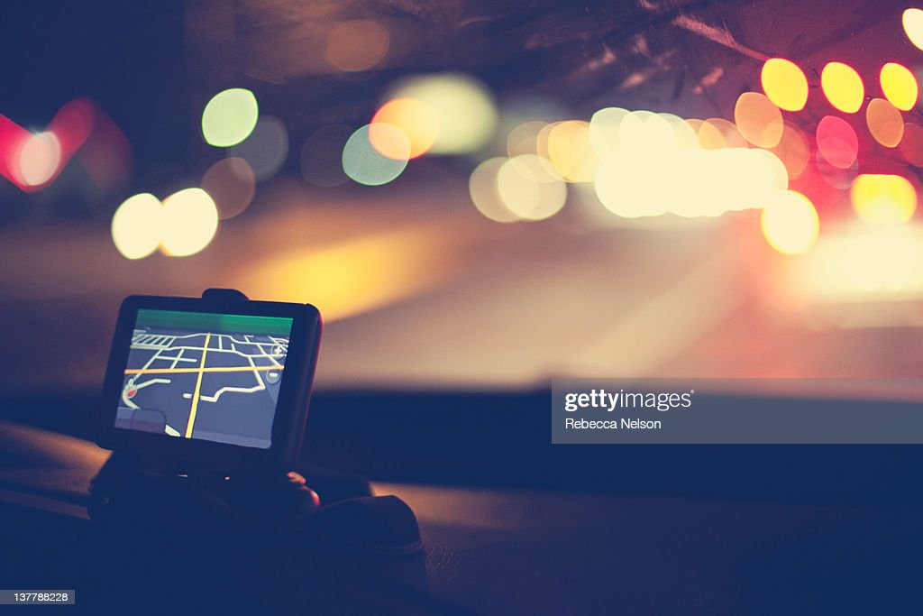 GPS navigational system on dashboard of car