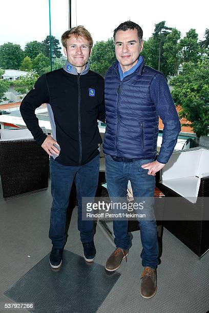 Navigator Francois Gabart and Sports Journalist Laurent Luyat pose at France Television french chanel studio during Day Thirteen of the 2016 French...