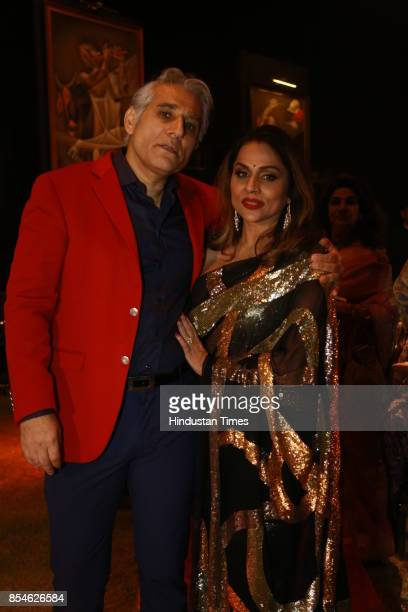 Navin Ansal and Raseel Gujral Ansal during an art exhibition organised by veteran artist Satish Gujral on September 22 2017 in New Delhi India At the...