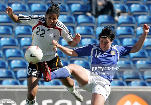 Navina Omilade of Germany and Taru Laihanen of Finland battle for the ball during the Algarve Cup match between Germany and Finland at the Algarve...