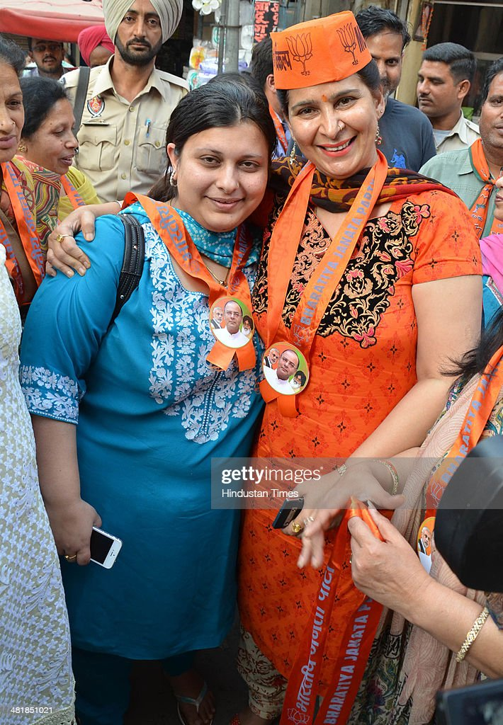 Navjot Kaur Sidhu Wife of BJP sitting MP Navjot Singh Sidhu and Sonali Jaitley daughter of Arun Jaitley during election campaigning in favour of Arun...