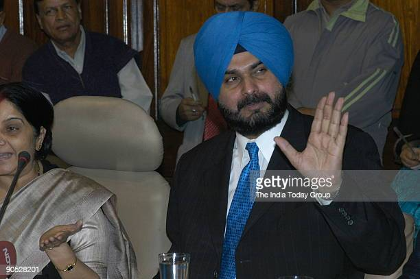 Navjot Singh Sidhu Former Indian Cricket Player and BJP MP at Parliament House in New Delhi India
