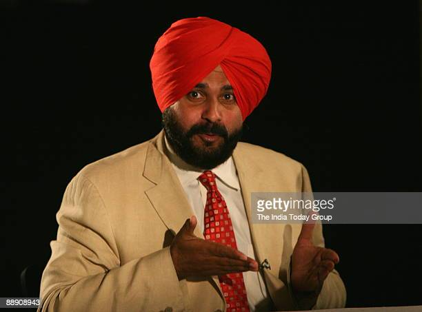 Navjot Singh Sidhu Former Indian Cricket Player and BJP MP from Amritsar on the sets of Seedhi Baat a popular TV show aired on Aaj Tak in Mumbai...