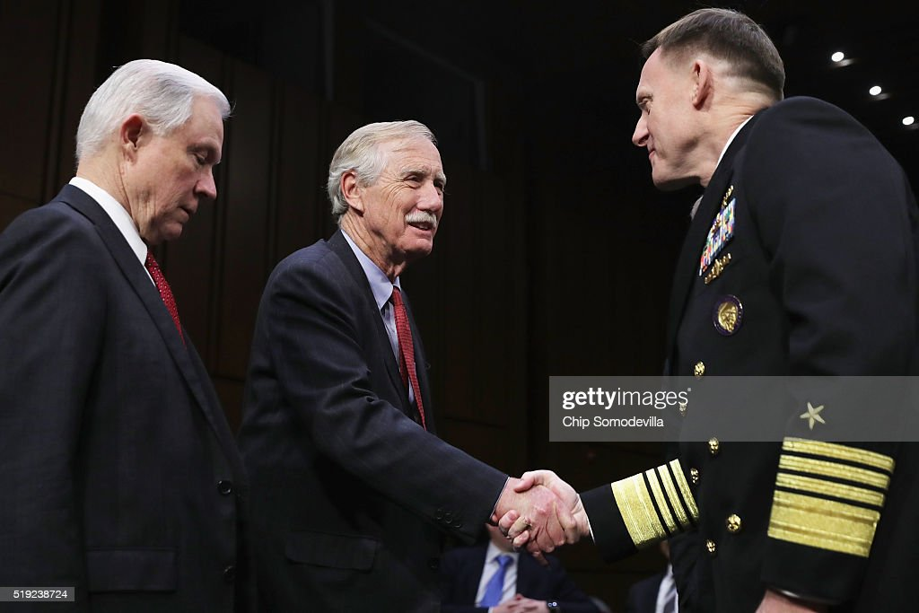 Navy Adm. Michael Rogers (R), commander of the U.S. Cyber Command, director of the National Security Agency and chief of Central Security Services, talks with Senate Armed Services Committee members Sen. <a gi-track='captionPersonalityLinkClicked' href=/galleries/search?phrase=Jeff+Sessions&family=editorial&specificpeople=534346 ng-click='$event.stopPropagation()'>Jeff Sessions</a> (R-AL) and Sen. <a gi-track='captionPersonalityLinkClicked' href=/galleries/search?phrase=Angus+King&family=editorial&specificpeople=2102168 ng-click='$event.stopPropagation()'>Angus King</a> (I-ME) before a hearing in the Hart Senate Office Building on Capitol Hill April 5, 2016 in Washington, DC. When asked by committee Chairman Sen. John McCain if Russia has the capability to inflict harm on the United States' cyber infrastructure, Rogers replied, 'Yes.'