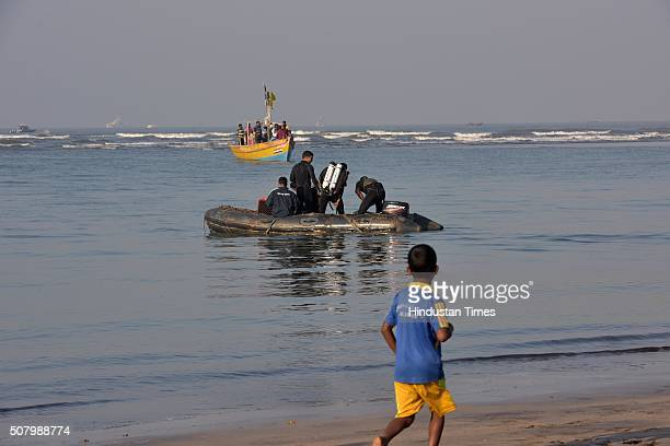 Navy and Coast Gaurd teams conducting search operation to locate the body of a college student who drowned along with 13 of his colleagues off the...