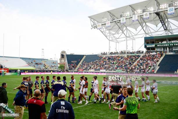 Navy and St Joseph's shake hands after the game at Talen Energy Stadium on June 3 2017 in Chester Pennsylvania Saturday was the second of three days...