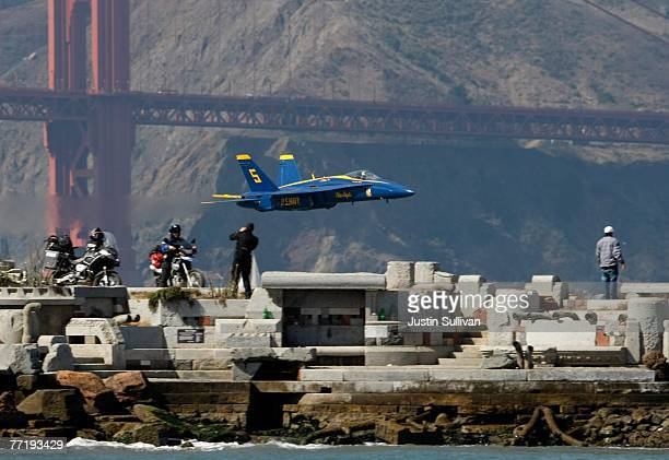 S Navy Blue Angels F/A18 Hornet makes a low pass over San Francisco Bay during a practice session for San Francisco Fleet Week October 4 2007 in San...