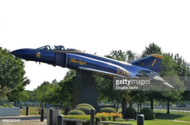 US Navy Blue Angels painted McDonnell-Douglas F-4 Phantom fighter jet on display