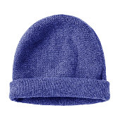 Navy blue worm winter woolen hat cap flat isolated on white