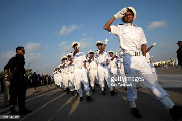 Navy cadets march during a military graduation ceremony May 28 2011 in Benghazi Libya Several hundred cadets are graduated for the first time since...