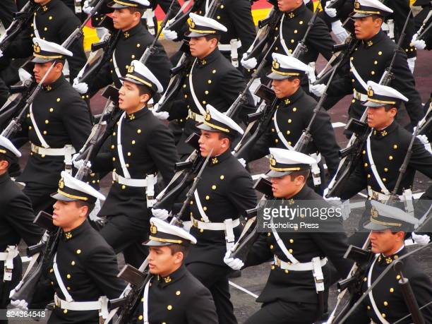 Navy cadets marching on Military parade commemorating 196th anniversary of Peruvian independence
