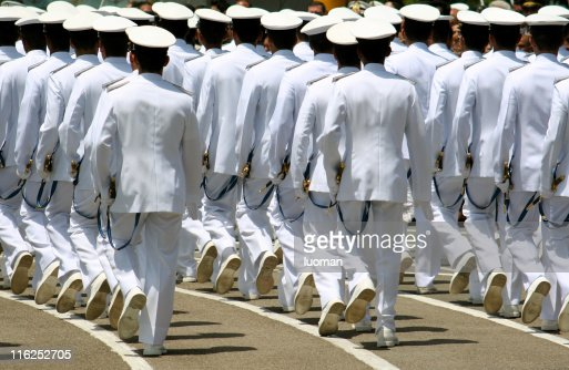 Navy cadets marching