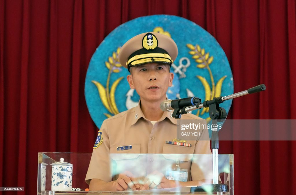 Navy chief of staff lieutenant general Mei Chia-shu speaks during a press conference in Taipei on July 1, 2016. Taiwan's military authorities said a lethal anti-ship missile was 'mistakenly' launched and fell into the Taiwan Strait as ties between the island and former bitter rival China deteriorate. / AFP / SAM YEH