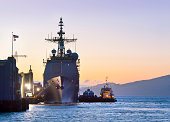 The Ticonderoga class guided-missile cruiser USS Mobile Bay (CG-53) at port in the San Francisco Bay