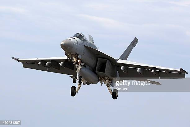 S Navy F/A18 Super Hornet prepare to the touch and go landing during the Field Carrier Landing Practice of the Carrier Air Wing 5 of US Naval Air...