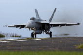 S Navy F/A18 Super Hornet take off during the Field Carrier Landing Practice of the Carrier Air Wing 5 of US Naval Air Facility Atsugi on May 14 2014...
