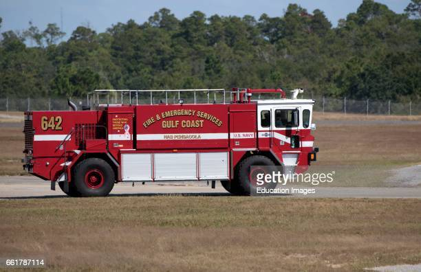 US Navy fire truck at Pensacola Naval Air Station Florida USA