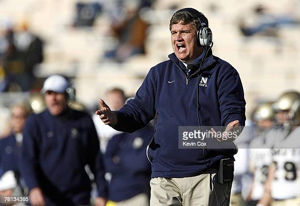 Navy head coach Paul Johnson argues a call with an official during the second half of the Midshipmen's 3813 win over Duke Saturday November 4 at...
