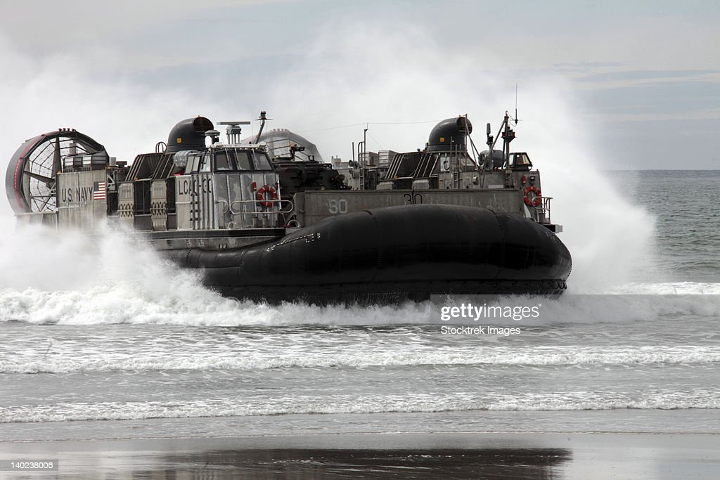 U.S. Navy Landing Craft Air Cushion makes a beach landing.