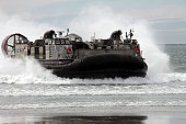 March 2, 2011 - U.S. Navy Landing Craft Air Cushion 30 makes a beach landing during Pacific Horizon 11 at Camp Pendleton, California. Pacific Horizon is an annual joint amphibious exercise that prepar