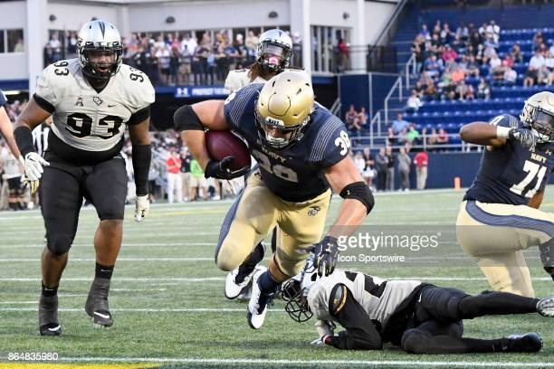 Navy Midshipmen fullback Anthony Gargiulo scores in the fourth quarter on October 21 at Navy Marine Corps Memorial Stadium in Annapolis MD The UCF...
