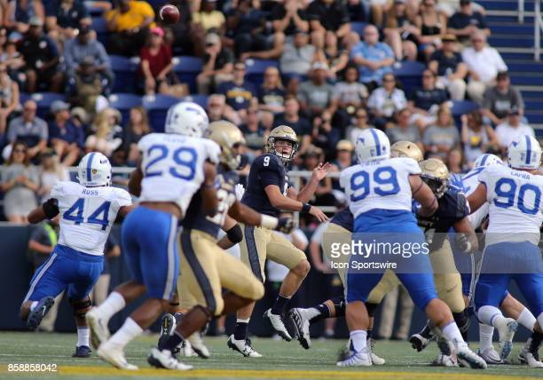 Navy Midshipmen quarterback Zach Abey makes a throw during a match between Navy and Air Force on October 07 at NavyMarine Corps Memorial Stadium in...