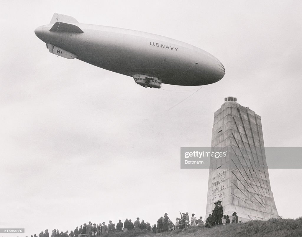 Wright Brothers Flight in blimp over wright brothers' memorial pictures | getty images
