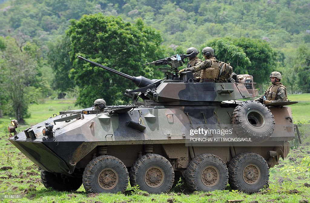 US navy personnel aboard a Armored Personnel Carrier take part in the Cobra Gold military exercise at a military base in Lopburi province on May 21...