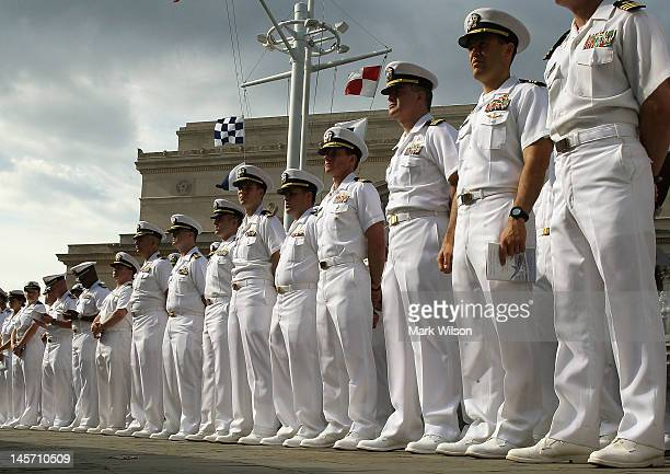 S Navy personnel attend a ceremony and commemoration of the 70th anniversary of the Battle of Midway at the US Navy Memorial on June 4 2012 in...