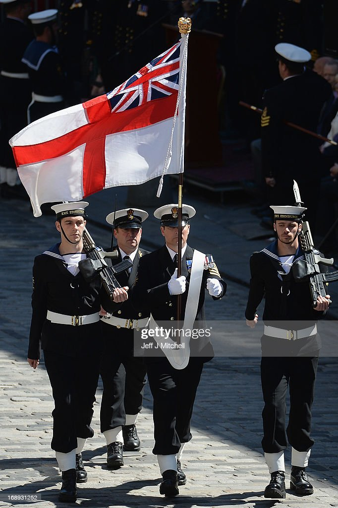 Navy personnel from HMS Edinburgh march along the Royal Mile during a Parade and presentation of Privilege to celebrate the ships decommissioning on May 17, 2013 in Edinburgh, Scotland.The Type 42 Destroyer, HMS Edinburgh is visiting the Edinburgh as part of a farewell tour which will end in Portsmouth next month.