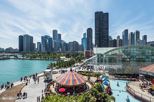 Navy Pier Chicago Skyline View