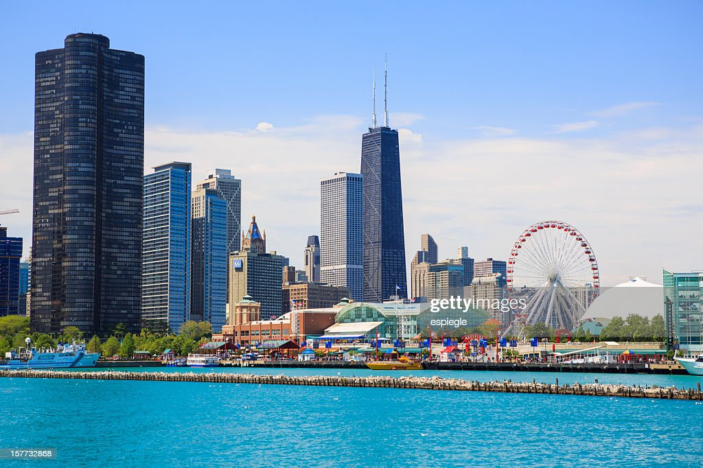 Navy Pier Park and Chicago cityscape : Stock Photo