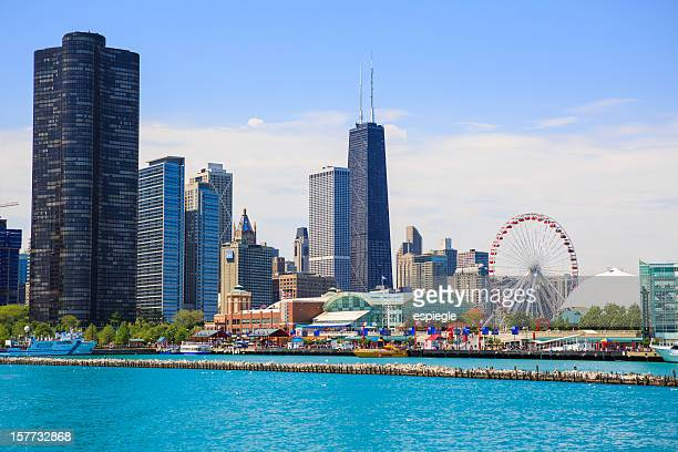 Navy Pier Park and Chicago cityscape
