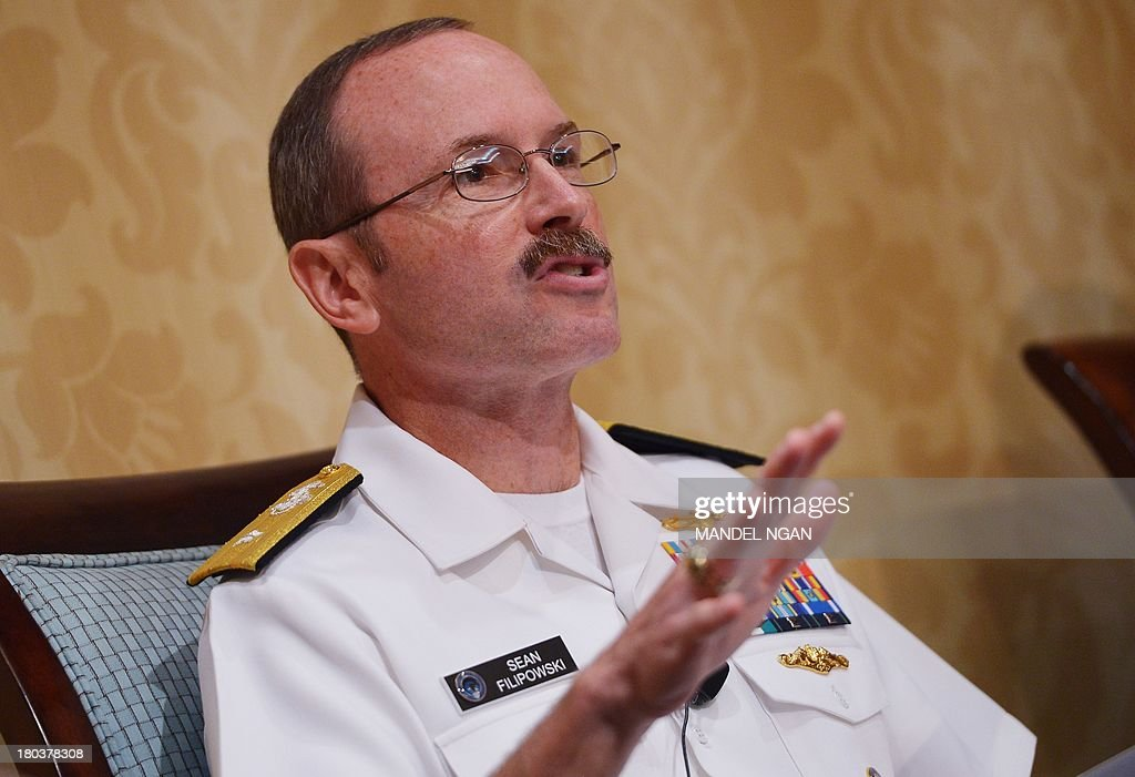US Navy Rear Admiral Sean Filipowski, director of intelligence at US Cyber Command, speaks during the inaugural Intelligence Community Summit organized by the Intelligence and National Security Alliance (INSA) on September 12, 2013 at a hotel in Washington, DC. AFP PHOTO/Mandel NGAN