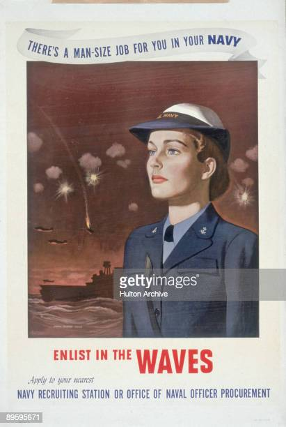 US Navy recruitment poster for the 'Women Accepted for Volunteer Emergency Service' program depicts a uniformed woman while antiaircraft fire...