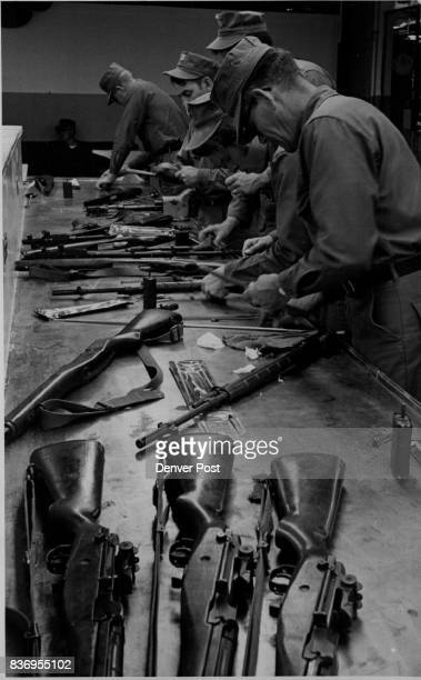 S * Navy * Reserve Gun Crew Loads Dummy Shells in Gun during Comex War Game Activities Lewis Grote right foreground was 'Casualty' earlier when enemy...