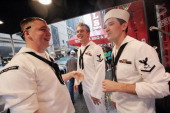 S Navy sailors gather outside a bar during Fleet Week festivities on May 26 2012 in New York City Fleet week which has been held in New York City...