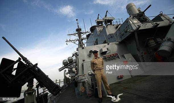 S Navy soldier stand aboard the USS Higgins destroyer on October 29 2009 in Haifa Israel The crew of the USS Higgins is participating in an IsraeliUS...